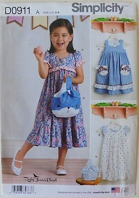 Simplicity 8565 Girl's Dresses & Purses Bags Sewing Pattern Sz 3-8