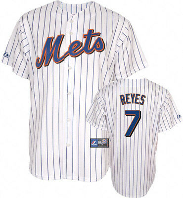 nw~Majestic NEW YORK METS JOSE REYES Baseball Jersey shirt top~Mens sz XL