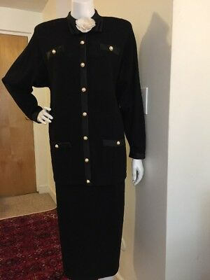 St John Suit By Marie Gray 2 PC KNIT Jacket and Skirt Suit Formal BLACK size 12