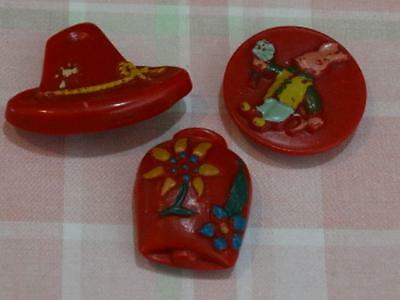3 RARE ITALIAN RED VINTAGE BUTTONS Hat Raised Rabbit and Cowbell