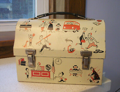 1957 American Teenager School Days Band Junior High Tin Dome Lunchbox