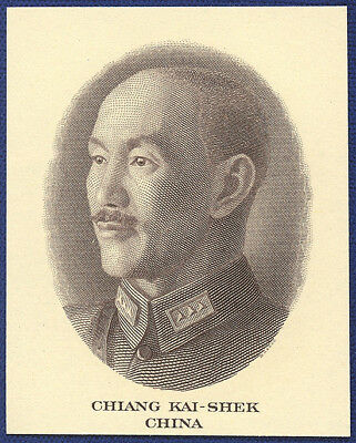 VINTAGE AMERICAN BANK NOTE Co. ENGRAVING: CHIANG KAI-SHEK CHINA