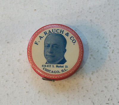 Advertising Celluloid Tape Measure F.A. Rauch & Co. Chicago IL Upholstery Goods
