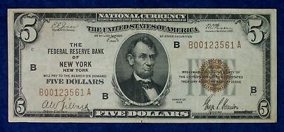1929 $5 Federal Reserve New York National Currency Banknote #B00123561A