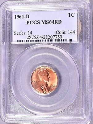 """1961-D Lincoln Penny  1C  PCGS MS64 RD   """"Series:  14   Coin:  144""""  *J860"""