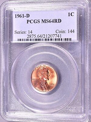 """1961-D Lincoln Penny  1C  PCGS MS64 RD   """"Series:  14   Coin:  144""""  *J854"""