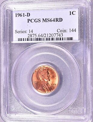 """1961-D Lincoln Penny  1C  PCGS MS64 RD   """"Series:  14   Coin:  144""""  *J844"""