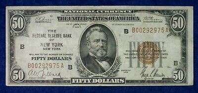 1929 $50 Federal Reserve New York National Currency Banknote #B00292975A