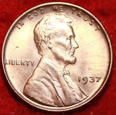 Uncirculated Red 1937 Philadelphia Mint Copper Lincoln Wheat Cent