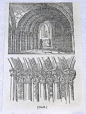 1832 small magazine engraving ~ PORCH OF THE TEMPLE CHURCH ~ KnIghts Templar
