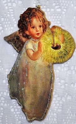 Angel with Candle ~ Glittered Vintage Image Ornament