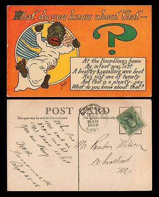 1908 Postcard - Black Baby / African Americana - What do you know about that?