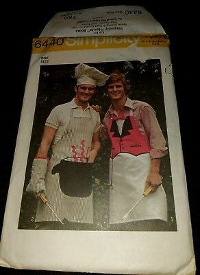 SIMPLICITY 6440 Dad Family Chef Apron Mitt and Hat Set BBQ Sewing Pattern Uncut