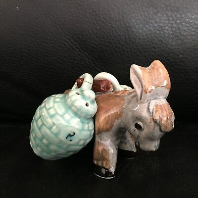 VINTAGE DONKEY & SADDLEBAGS SALT & PEPPER in AF COND
