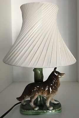Vintage Ceramic Dog Bedside Table Lamp With Plastic Barsony Lampshade In Vg Con