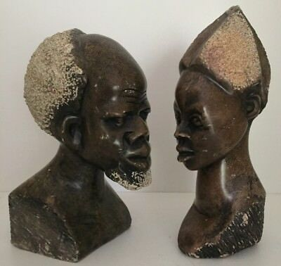 Vintage Retro African Man & Woman Head Statues Sculptures *heavy* Sandstone