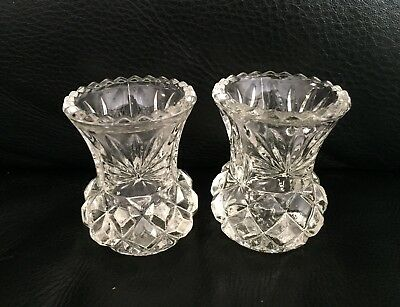 VINTAGE PAIR OF DEPRESSION GLASS BUD THISTLE VASES - CLEAR in EXC