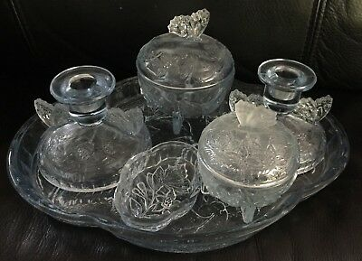 """DEPRESSION GLASS BUTTERFLY """"PASTEL BLUE"""" 8 piece DRESSING TABLE SET in EXC"""