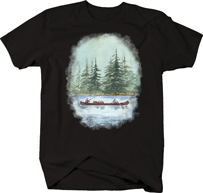 Campers Down River on Canoe Paddling Wildlife Fishing Hunting T-shirt