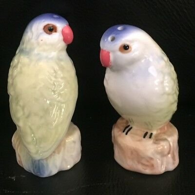 "Vintage Retro Cute Ceramic ""budgie"" Bird (Japan) Salt & Pepper Exc"