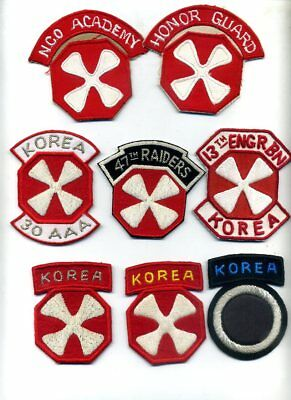 (2) KOREA Theater Made US 8th ARMY SSI w/ (6) FREE!! Veteran Reunion Patches