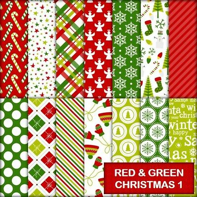 RED & GREEN CHRISTMAS 1 SCRAPBOOK PAPER - 14 x A4 pages.