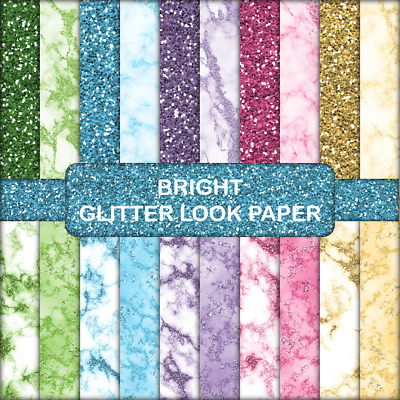 BRIGHT GLITTER LOOK SCRAPBOOK PAPER - 20 x A4 pages.