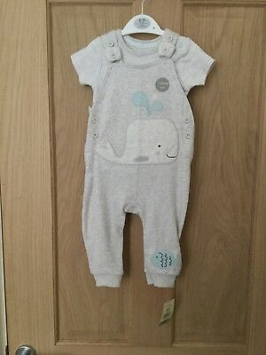 BNWT George Baby Boys Long Dungaree & Bodysuit Set - 6-9 Months (Whale)