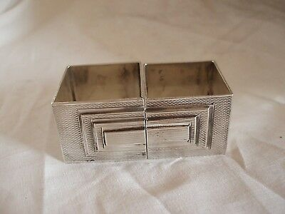 Pr Art Deco Napkin Rings Sterling Silver London 1935/36