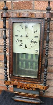 Old Large Inlaid And Very Shapely Wooden Wall Clock To Restore