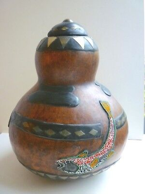 Large Australian Aboriginal Lacquered Inlaid Beaded Gourd w/ Frog, Lizard & Fish