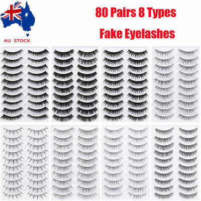80 Pairs Soft Natural Thick Long False Fake Eyelashes Eye Lashes Makeup Tool AU