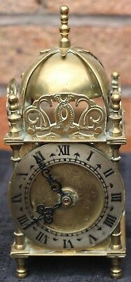 Small Vintage Solid Brass Smiths Lantern Type Mantel Clock With Battery Workings
