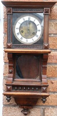 Good Looking Stylish Old Wooden Wall Clock To Restore Or Spares