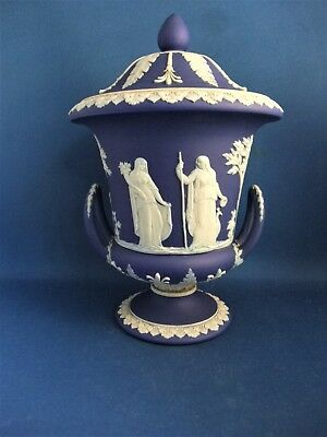 Antique 19Thc Wedgwood Dark Blue Jasperware Campana Lidded Urn
