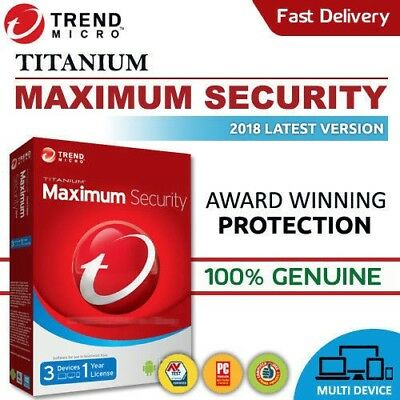 Trend Micro Maximum Security 2018 3 Devices | 1 YEAR |Windows | MAC | Android