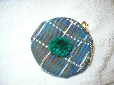Vintage Purse Ladies Tam O'shanter Style Scottish Tartan  Green Bobble Unused