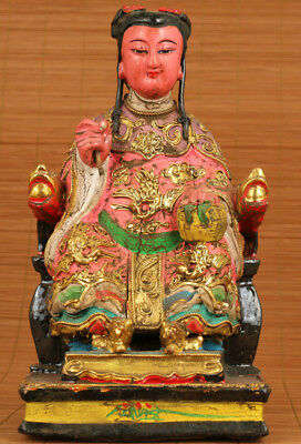 Unique Chinese Old Wood Hand Buddha Guanyin Carved Statue Ornamrnt