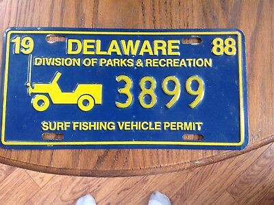 Delaware Surf Fishing Tag Or Plate 1988
