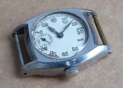 All stainless steel vintage Aero watch, 15 jewels, for repair, runs but stops.