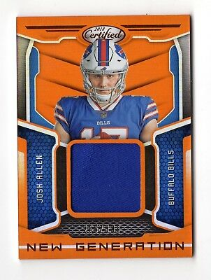 Josh Allen Nfl 2018 Certified New Generation Jersey Mirror Orange (Buffalo Bills