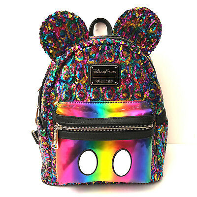546afcbda9ee Loungefly Disney Parks Exclusive Mickey Mouse Rainbow Glitter Mini Backpack