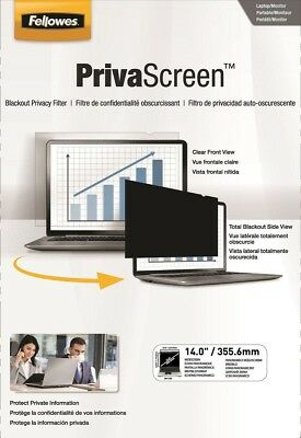 "Fellowes Privascreen Laptop Computer Black Privacy Filter 14"" Screen Blackout"