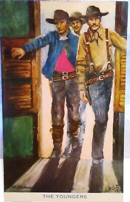 1950s POSTCARD THE YOUNGERS,GUNFIGHTERS, BY LEA MCCARTY, APPLE VALLEY CA