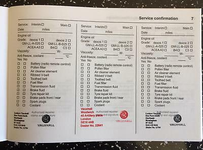 Vauxhall Service Book Stamped,brand New & Genuine, Choose How Many Stamps U Need