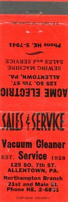 Acme Electric Vacuum Cleaner Service, Allentown, Pennsylvania Matchbook