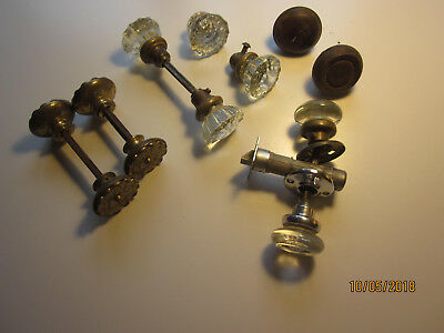 Lot of 12 Antique Vintage Door Knobs: Brass, Crystal Glass, and dark metal, etc