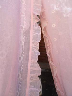 A Pair Of Antique 1920's French Embroidered Pink Curtain Panels