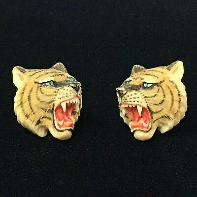 Vintage Hand carved Asian Tiger's Head on Silver Cufflinks Japan
