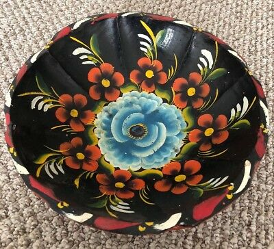 Vintage Mexican Batea Hand Painted Carved Wood Bowl Floral